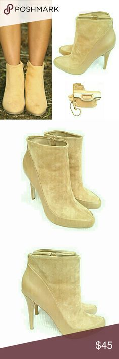 """RSVP CREAM SUEDE & LEATHER ANKLE BOOTS RSVP BEIGE COLOR SUEDE & LEATHER ANKLE BOOTS Pre-Loved  / Image for Similarity  *   Size 9M *   Beige Suede weather Trim *   Inside Zip Up *   4"""" Heels *   Minimum Use of Suede/ Leather (some flecks)   Please See Pics for what I Think Minimum Use  I'd Be Happy to Answer any Questions or Provide more Pics. Great w/ the Coach Bag Also! ( not incl) RSVP Shoes Ankle Boots & Booties"""
