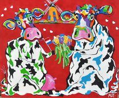 Mirthe Kolkman, Atelier Mir, biedt haar koeienschilderijen te koop aan via KUNSTmarktplaats.nl. #kunst #koeien #schilderij