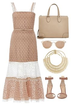 Nude with Gold by carolineas on Polyvore featuring polyvore, fashion, style, Alexis, Gianvito Rossi, Valextra, Rosantica, Taylor Morris and clothing