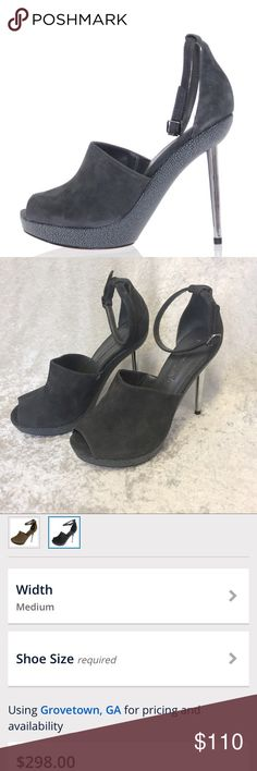 BCBG JOY peep toe ankle strap pump leather Leather heels by BCBG. Style is JOY and color is charcoal gray. Size is 8. Worn a couple times. BCBGMaxAzria Shoes Heels