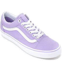 Fashionably iconic, the Vans Old Skool receives a makeover perfect for your spring and summer wardrobe. The Old Skool Lavender and White Canvas Shoes are featured with a pastel purple canvas upper, contrasting white metal eyelets, and Vans' signature waff