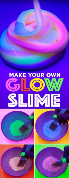 Make your own glow slime using Tulip Dimensional Glow Paint and Aleene's Clear Gel Tacky Glue. Super cool way to make slime that glows rainbow bright under blacklight. Glow Stick Jars, Glow Jars, Glow Sticks, Galaxy Slime, Glow In Dark Slime, Ways To Make Slime, Glow Crafts, Art Crafts, Glow Stick Crafts