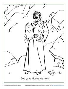 god gave moses the ten commandments coloring page