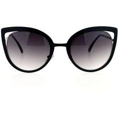 Amazon.com: SA106 Womens Goth Metal Cat Eye Sunglasses Black: Clothing ($13) ❤ liked on Polyvore featuring accessories, eyewear, sunglasses, goth sunglasses, metal glasses, metal sunglasses, cat-eye glasses and cat eye sunglasses