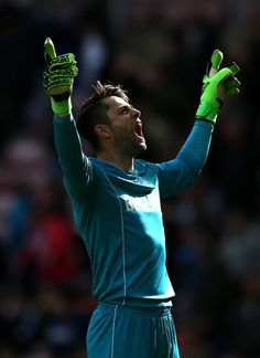 Lukasz Fabianski of Swansea City celebrates after the Premier League match between Sunderland and Swansea City at Stadium of Light on May 13, 2017 in Sunderland, England.