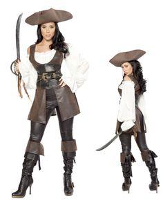 Woman's Pirate Vest, Belt, Shirt & Hat