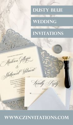 Dusty Blue Laser Cut Petal Invitation! This elegant dusty blue invitation is perfect for a winter or spring wedding! The lace detail is stunning. Add a note of sparkle with the silver glitter mat! Formal Wedding Invitations, Glitter Invitations, Unique Invitations, Printable Wedding Invitations, Wedding Invitation Design, Wedding Stationery, Spring Wedding, Garden Wedding, Dusty Blue Weddings