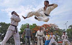 Karate kick in Hyderabad, India