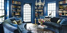 janet gridley blue library and other great blue paint colors Home Interior, Interior Decorating, Interior Design, Interior Paint, Decorating Ideas, Decor Ideas, Best Blue Paint Colors, House Is A Mess, Home Library Design