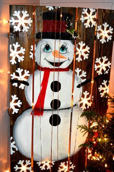 Adorable hand painted snowman wooden pallet. Built in Christmas lights for indoor and outdoor use. Would look great as a outdoor patio decoration or indoor as well. Coated with a thick weather proof poly to protect against the elements. Because of size would need to be delivered by freight.