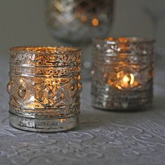 SILVER Metal Tea Light Candle Holder Hammered Multi Dimpled Contemporary Design