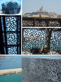 """Marseille Capitale Européenne de la Culture 2013 - Le MuCEM - Vue sur La Bonne Mère que l'on découvre depuis la terrasse accessible par la """" ziggourat """" [rampe d'accès qui entoure l'édifice signé Rudy Ricciotti]"""