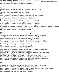 Song Me And Bobby Mcgee by Kris Kristofferson, with lyrics for vocal performance and accompaniment chords for Ukulele, Guitar Banjo etc.