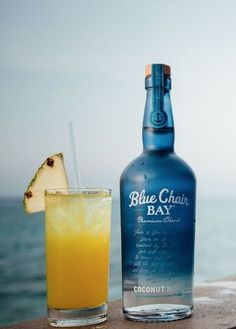 BLUE CHAIR BAY PINEAPPLE EXPRESS  COCKTAIL RECIPE // 2.5 oz. Blue Chair Bay Coconut Rum + 2.5 oz. Blue Chair Bay Banana Rum + 1.5 oz. peach schnapps + 9 oz. orange juice + 9 oz. pineapple juice // Mix all ingredients in a fishbowl. Serves many.