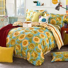 Lovely 9 DIY Sunflower Bedroom Decoration Ideas The bedroom is the area for the highest rejuvenation and relaxation. It has small bedrooms including disturbances where the surface is limited. If you have a fairly simple bedroom, and you should c… Country Bedding Sets, Yellow Bedding, Luxury Bedding Sets, Aesthetic Bedroom, Living Room Grey, Beautiful Bedrooms, Bedroom Decor, Bedroom Ideas, Master Bedroom