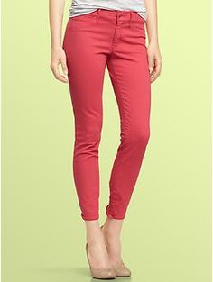 Love my pink jeans from GAP.  Paired them w/ a navy & white striped tank & navy cardigan.  Want more colors!