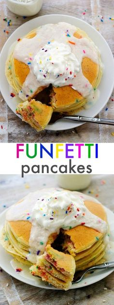Funfetti Pancakes are light and fluffy and taste like birthday cake with a delicious vanilla frosting to top them off. Life-in-the-Lofthouse.com Birthday Breakfast, What's For Breakfast, Breakfast Pancakes, Breakfast Snacks, Breakfast Recipes, Fiber Rich Fruits, Good Food, Yummy Food, Recipe Of The Day