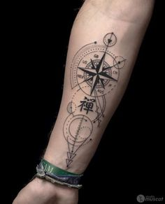 Web Tattoo: Compass Tattoo: 70 Images to Fall in Love Forarm Tattoos, Cool Forearm Tattoos, Forearm Tattoo Design, Arrow Tattoos, Body Art Tattoos, Hand Tattoos, Small Tattoos, Cool Tattoos, Quote Tattoos