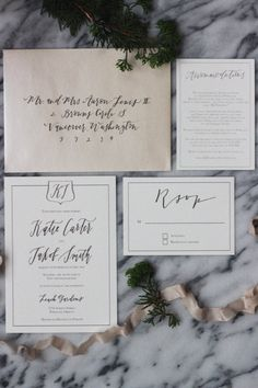 The Wedding Invitation Collection - East  A simple invitation suite adorned with a simple monogram, the couples first initials, a border, and a