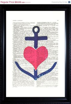 ANCHOR Art with heart Print - Vintage Dictionary Page ANTIQUE Book Print Wall Decor