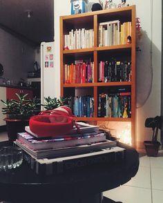 livros organizados por cor e objetos de estimação pra fazer da estante de nichos da meu móvel de madeira o principal móvel da casa colorida.https://instagram.com/p/BQiPddCjXn4/