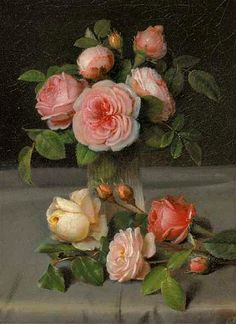 Carl Rohde Roses in a Vase 19th century
