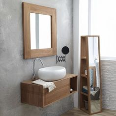 Wall mounted washstand - Basic solo washstand at Tikamoon Small Bathroom Sink Vanity, Stone Bathroom, Solid Wood Furniture, Cool Furniture, Terrazzo, Bad Inspiration, Small Toilet, Vanity Units, Modern Bathroom Design