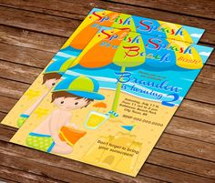 80% OFF SALE - Printable personalized beach party theme invitation - Printable party invitation boys brown hair beach with beach hat