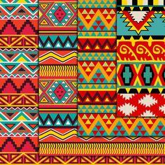 Bright Aztec Pattern Paper pack Ikat geometric by DigitalMagicShop Ethnic Patterns, Textile Patterns, Print Patterns, Pattern Paper, Pattern Art, Pattern Design, Mexican Pattern, Afrique Art, Madhubani Art