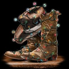 Cowboy Boots Christmas HEAT PRESS TRANSFER for T Shirt Sweatshirt Fabric #115e #AB