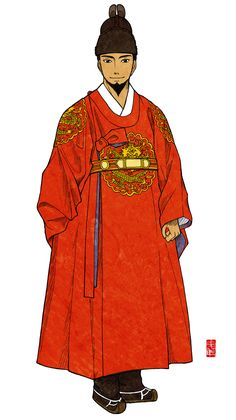 """OK, I think it is no need to expatiate at length! The dress """"Gonryongpo"""" and the crown """"Ikseongwan"""" is the everyday dress of kings. Korean Traditional Clothes, Traditional Outfits, Korea Dress, Japan Outfit, King Fashion, Korean Hanbok, Samurai, Korean Art, Chinese Clothing"""