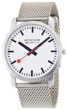 Mondaine Men's A672.30350.16SBM Simply Elegant Steel Band Watch Mondaine. $264.65. Swiss quartz movement. Stainless steal case. Water resistant up to 99 ft depth. Durable saphire crystal. Case diameter: 41 mm. Save 24%!
