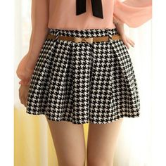 Wholesale Stylish Elastic Waist Houndstooth Print Slimming Pleated Skirt For Women (With Belt) (WHITE AND BLACK,ONE SIZE), Skirts - Rosewholesale.com