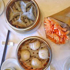 Dim sum!  Steamed Shrimp Dumpling Steamed Black Truffle Dumpling At Dynasty Seafood