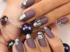 Matte Plum Steampunk Nails
