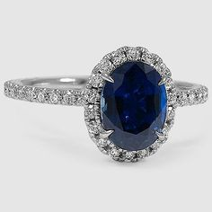 18K White Gold Sapphire Waverly Daimodn Ring // Set with a 8x6mm Blue Oval Sapphire (From Unique Colored Gemstone Gallery) #BrilliantEarth