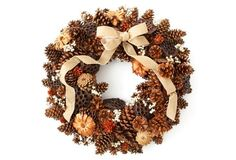 "27"" Pinecones and Pods Wreath, Dried"