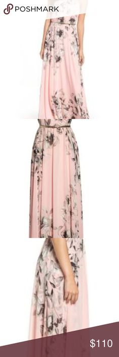 "Eliza J Belted Chiffon Maxi Dress Face-framing pleats crown the bodice of this romantic, flowing gown cut from floral chiffon.  worn once to a wedding. so pretty and comfortable. got tons of compliments.  Fit perfectly on my 5'2"" frame with 3.5"" heels  https://shop.nordstrom.com/s/eliza-j-belted-chiffon-maxi-dress-regular-petite/3643485 Eliza J Dresses Maxi"