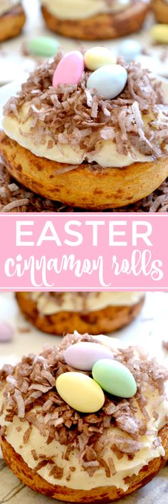 These Easter Cinnamon Rolls are the PERFECT breakfast for Easter morning! They start with refrigerated cinnamon rolls, topped with the best cream cheese frosting, chocolate coconut, and Jordan almonds for a super cute, sweet breakfast treat!