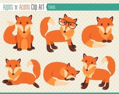 Foxes Clip Art - color and outlines $