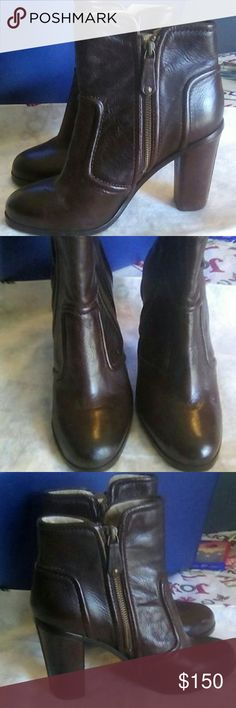 """FRYE NWT F'12 Sylvia Piping Ankle Boots Sz 8.5 Bro FRYE NWT, F'12 Sylvia Piping Dark Brown Ankle Booties. Leather. Size 8-1/2. Zippers on both sides for easy on/off. Heel measures approximately 4-1/2"""". Smoke free home. Frye Shoes Ankle Boots & Booties"""