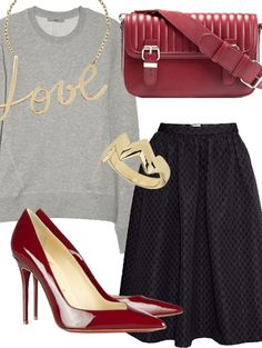 Look with a basic gray sweater