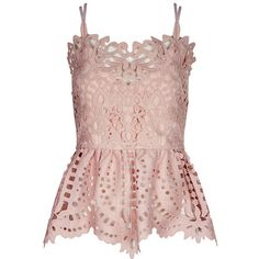 Perseverance London Dusty Pink Guipere Lace Cami Top ($240) ❤ liked on Polyvore featuring pink lace cami, slimming cami, slimming camisole, lace camis and lacy cami
