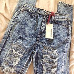 "FACTORY DISTRESSED HIGH WAISTED ACID WASH JEANS BRAND NEW WITH TAGS!!!  FACTORY DISTRESSED HIGH WAISTED ACID WASH STRETCH SKINNY JEANS  Sneak Peek  Tagged Size 7 Blue Acid Wash Factory Distressed  Material - 99% Cotton 1% Spandex 30"" Inseam 12"" Rise 27"" Waist Sneak Peek Jeans"