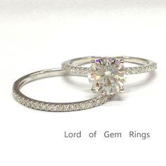 $729 Round Moissanite Engagement Ring Sets Pave Diamond Wedding 14K White Gold 6.5mm