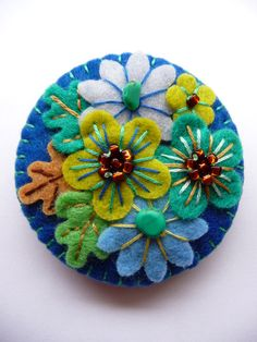 FB116 - Japanese Art Inspired Handmade Mini Felt Brooch - Royal Blue - Made to order