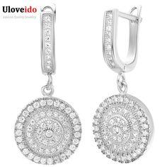 50% Plateado Plata de la Boda De Novia Regalo de Las Mujeres Pendientes de Gota de Cristal para Las Mujeres Pendiente de la CZ Joyas de Diamantes Aretes R234