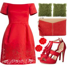Untitled #4889 by prettyorchid22 on Polyvore featuring moda, Notte by Marchesa, H&M, BCBGMAXAZRIA, Fornash and Surya