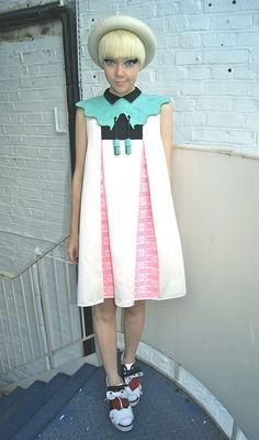 Interesting pastel dress, love the collar detail