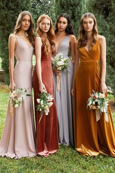 Maybe the prettiest mismatched bridesmaid look we've ever seen Velvet wrap stretchy fabrics sweeping chiffon and flattering silhouettes. this color and fabric play from is everything we need! bridesmaid gowns by Mismatched Bridesmaid Dresses, Wedding Bridesmaid Dresses, Green Wedding Shoes, Wedding Colors, Bridal Party Dresses, Boho, The Dress, Wedding Bells, Marie